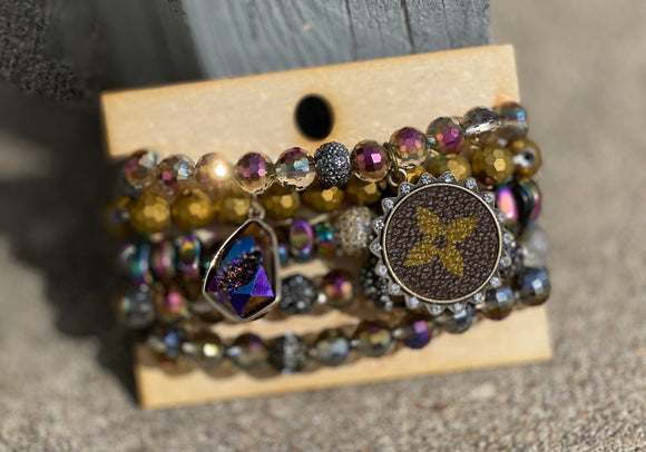Pearlescent Stackable Bracelet with Upcycled LV Charm - Face 2 Soul Beauty Boutique