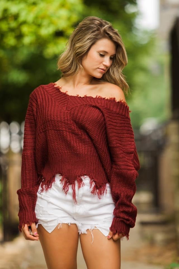 Burgundy Frayed Vneck Sweater - Face 2 Soul Beauty Boutique