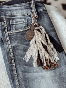 Fringe Keychain with Upcycled LV Charm - Face 2 Soul Beauty Boutique