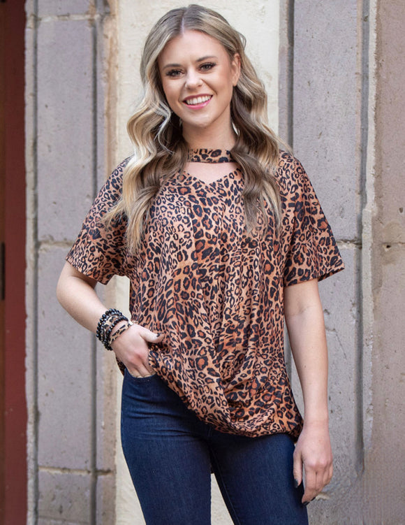 What's Knot To Like Leopard Tee Keyhole Top - Face 2 Soul Beauty Boutique