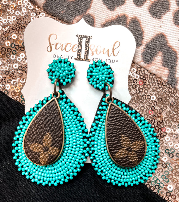 Turquoise Beaded Earrings With Upcycled LV - Face 2 Soul Beauty Boutique