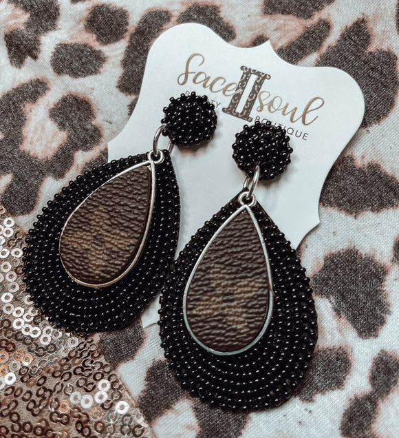 Black Beaded Upcycled LV Earrings - Face 2 Soul Beauty Boutique