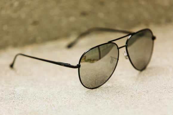 Black Frame Silver Lens Aviator Sunglasses