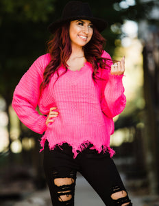 Fuchsia Frayed Sweater - Face 2 Soul Beauty Boutique
