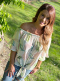 Tropical Off The Shoulder Knot Top - Face 2 Soul Beauty Boutique