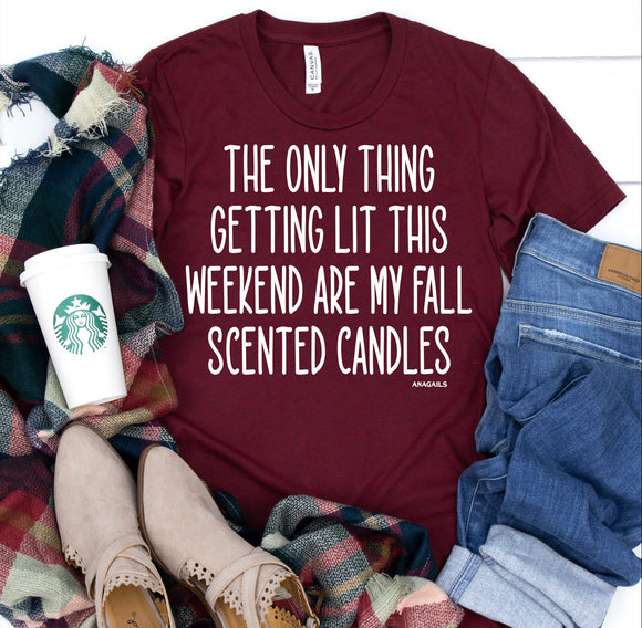 Maroon Fall Candles Tee - Face 2 Soul Beauty Boutique