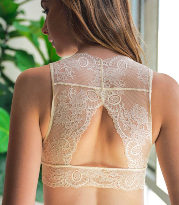 Ivory Lace Keyhole Back Bralette - Face 2 Soul Beauty Boutique