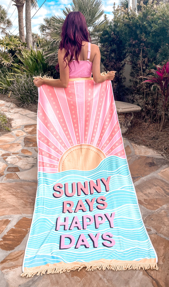 Sunny Rays Happy Days Beach Towel - Face 2 Soul Beauty Boutique