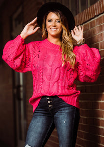 Finding My Own Way Fuchsia Puff Sleeves Sweater - Face 2 Soul Beauty Boutique