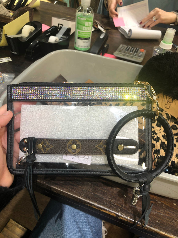 Black Clear Clutch w/ Rhinestone & Upcycled LV Detail - Face 2 Soul Beauty Boutique