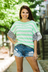 Proud To Be Different Striped Top with Leopard Sleeves - Face 2 Soul Beauty Boutique