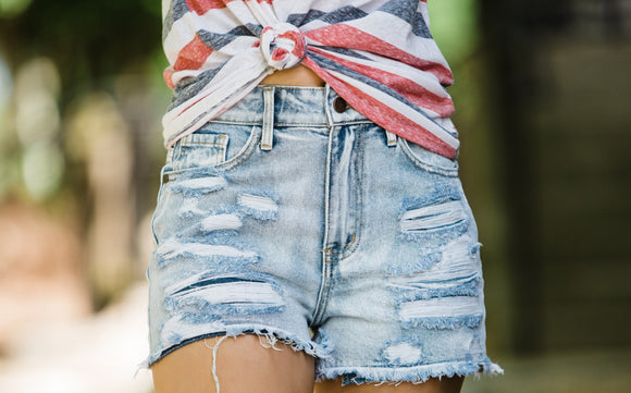 The Kori Light Wash Distressed Shorts - Face 2 Soul Beauty Boutique