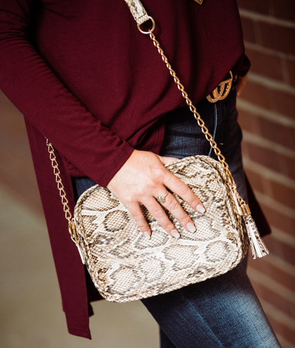 The Snake Print Sightseeing Crossbody Bag - Face 2 Soul Beauty Boutique