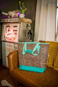 Leopard & Turquoise Insulated Cooler Tote - Face 2 Soul Beauty Boutique