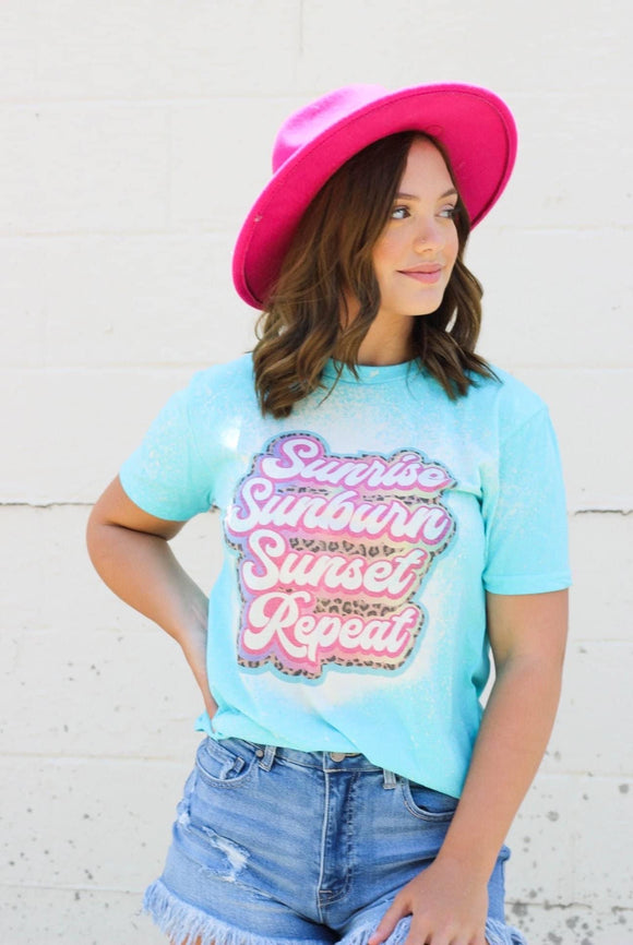 Sunrise Sunset Repeat Bleach Wash Tee - Face 2 Soul Beauty Boutique
