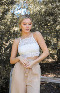 High Neck Lace Keyhole White Bralette - Face 2 Soul Beauty Boutique