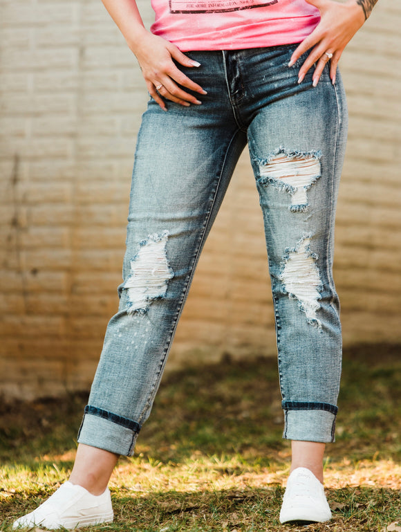 The Bleach Splatter Judy Blue Boyfriend Jeans - Face 2 Soul Beauty Boutique