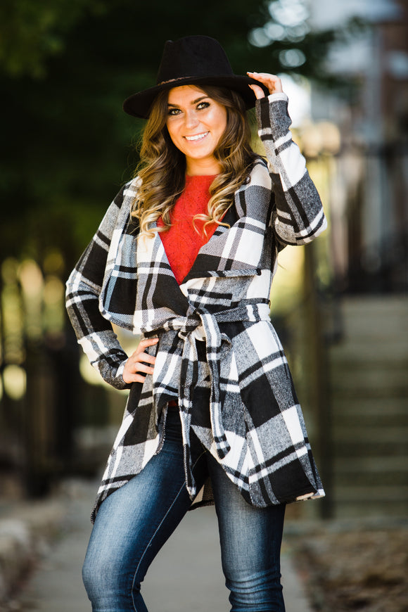 Black & White Buffalo Plaid Pea Coat - Face 2 Soul Beauty Boutique