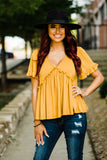 Stay Classy Mustard Vneck Bellsleeve Baby Doll Top - Face 2 Soul Beauty Boutique