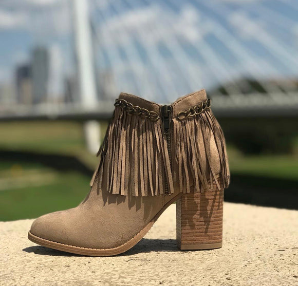 The Michelle Taupe Fringe Booties - Face 2 Soul Beauty Boutique