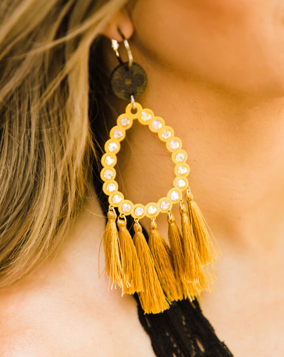 Upcycled LV Mustard Fringe Earrings