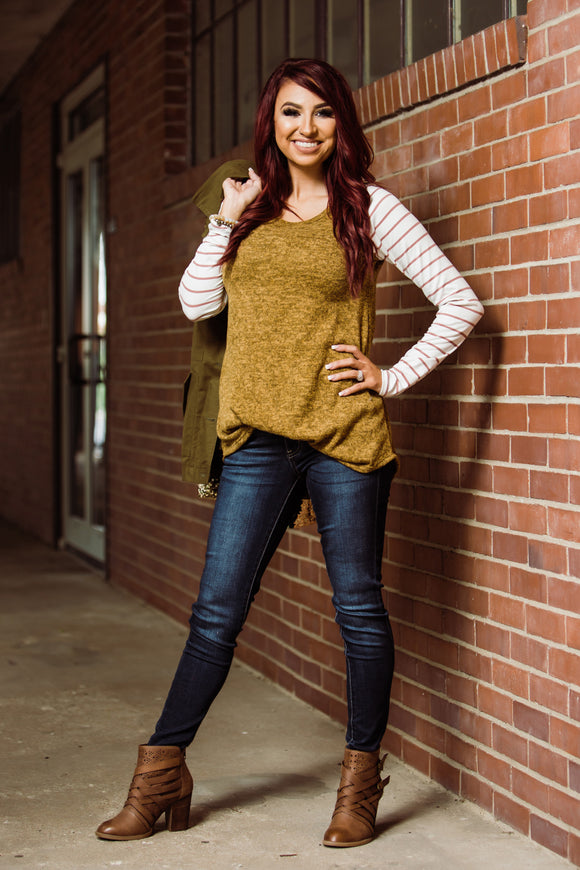 Camel Longsleeve with Striped Sleeves - Face 2 Soul Beauty Boutique