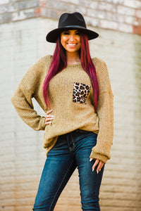 Kickin It Back Knit Longsleeve with Leopard Pocket - Face 2 Soul Beauty Boutique