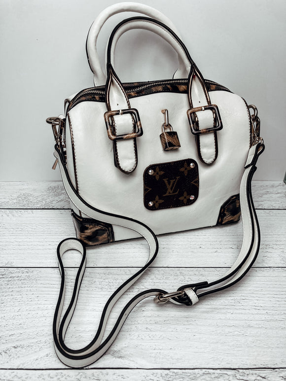 Upcycled LV White & Leopard Purse - Face 2 Soul Beauty Boutique