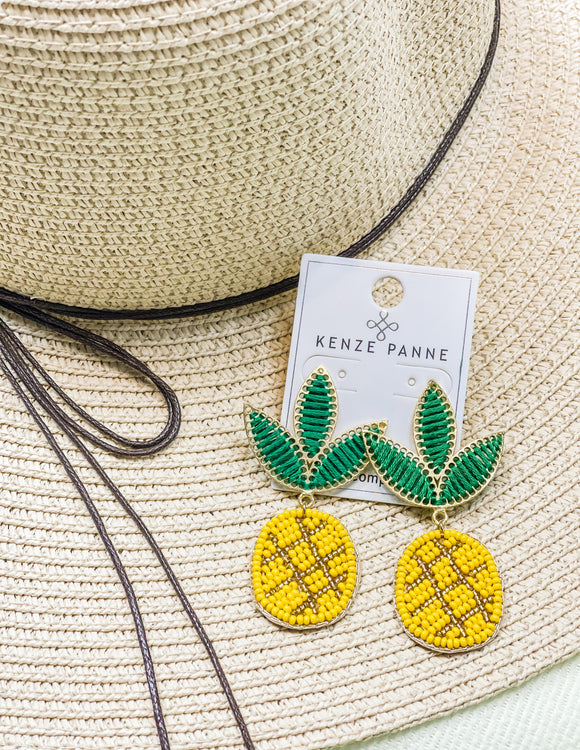 Pineapple Beaded Earrings - Face 2 Soul Beauty Boutique