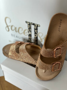 Rose Gold Rhinestone Slides - Face 2 Soul Beauty Boutique