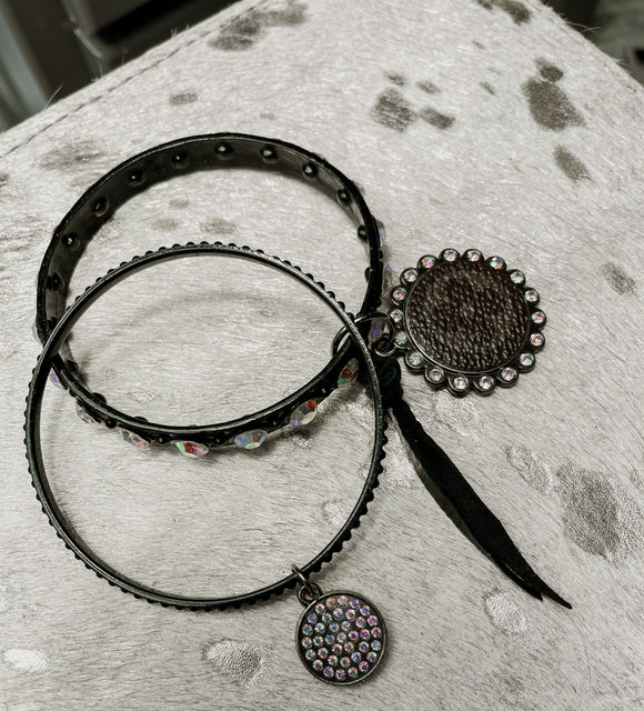 Black Rhinestone Bangles with Upcycled Lv Charm - Face 2 Soul Beauty Boutique
