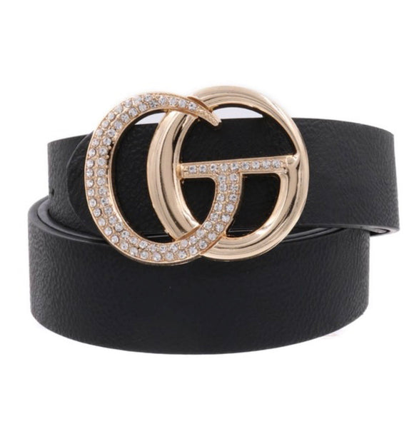 Black Rhinestone Studded Buckle Belt - Face 2 Soul Beauty Boutique