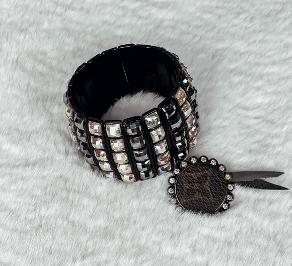 Upcycled LV Charcoal & AB Crystal Cuff Bracelet - Face 2 Soul Beauty Boutique