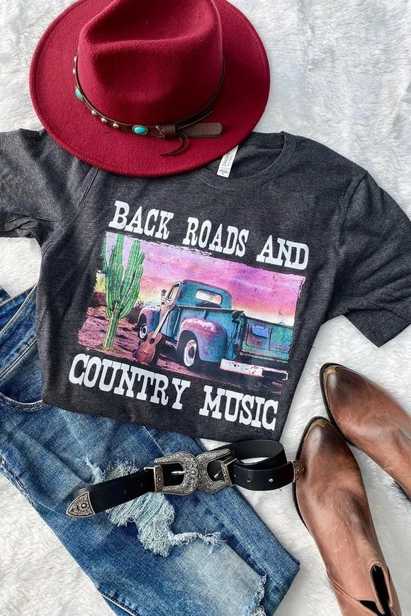 Back Roads And Country Music Tee - Face 2 Soul Beauty Boutique