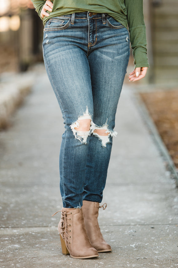 The Judy B Distressed Knee Skinnies - Face 2 Soul Beauty Boutique