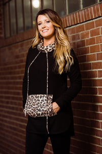 Black & Cheetah Long Top - Face 2 Soul Beauty Boutique