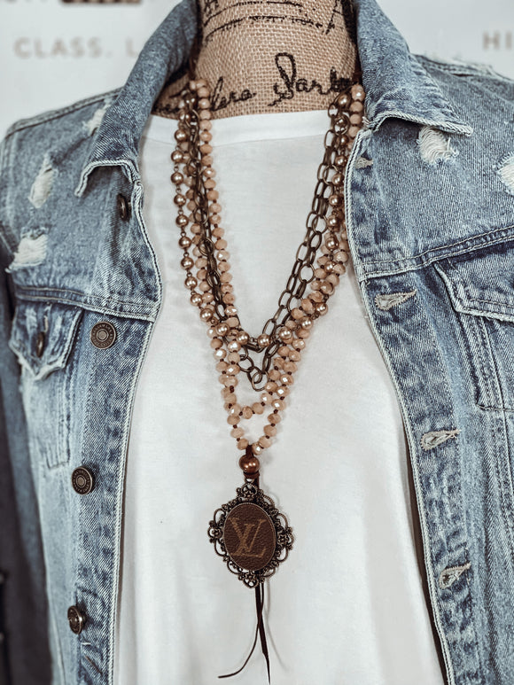 Upcycled LV Beaded Layered Necklace - Face 2 Soul Beauty Boutique