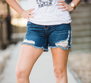 The Dollie Dark Denim Shorts - Face 2 Soul Beauty Boutique