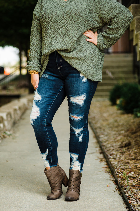Midrise Distressed Skinny Jeans - Face 2 Soul Beauty Boutique