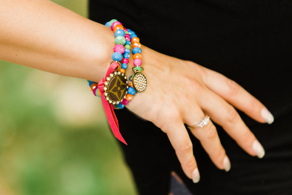 Colorful Blessed Bracelet Set with Upcycled LV Charm