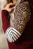 Maroon Leopard & Stripes Longsleeve - Face 2 Soul Beauty Boutique