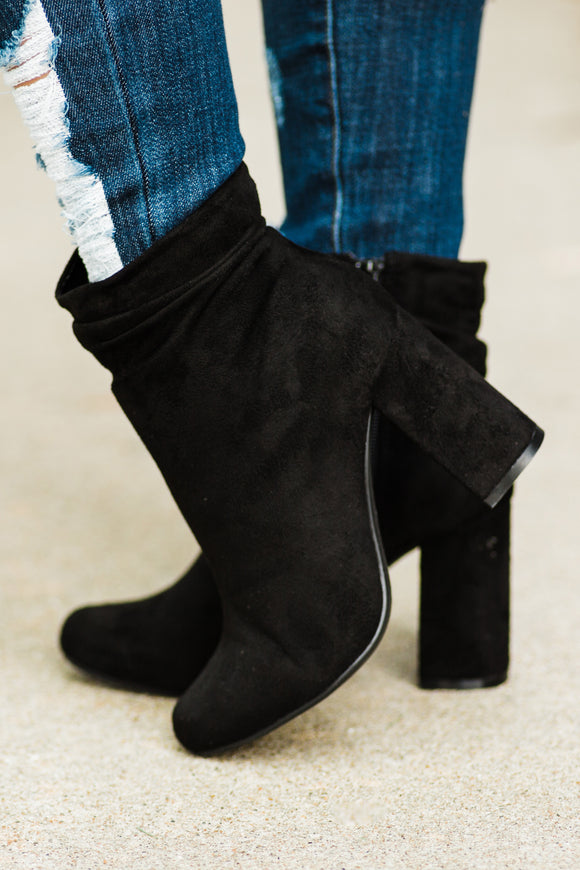 Black Chunky Heel Ankle Bootie - Face 2 Soul Beauty Boutique