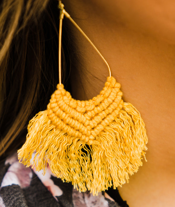 Mustard Ole Thread Fish Hook Earrings