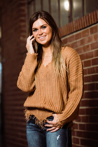 Time to Make a Stand Caramel Frayed Sweater - Face 2 Soul Beauty Boutique