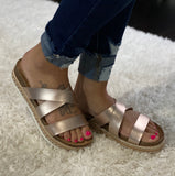 Rose Gold Metalic Lanza Sandal - Face 2 Soul Beauty Boutique