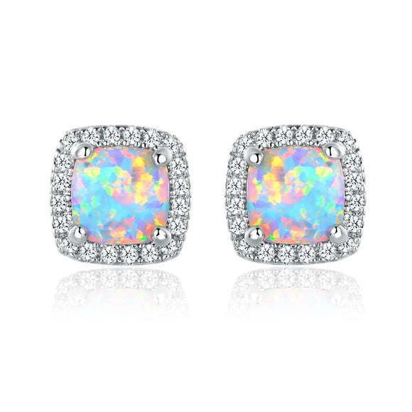 18K White Gold Plated Opal Stud Earrings - Face 2 Soul Beauty Boutique