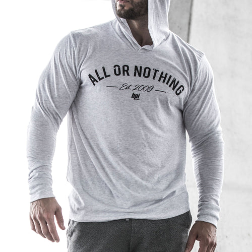 BPI Sports all or nothing white womens and mens long sleeve hoodie tee