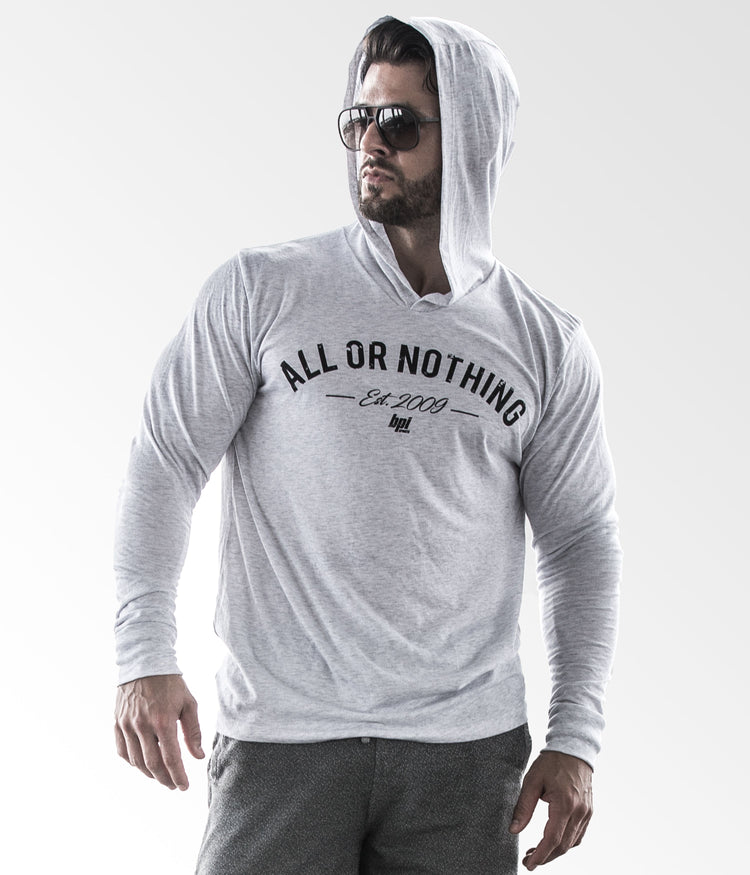 All or Nothing Unisex - Long Sleeve Hooded Tee (Light)