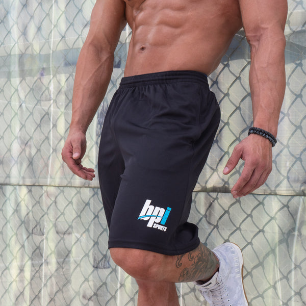 athlete wearing BPI Sports black gym shorts