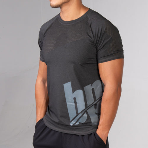BPI Sports black and grey mens performance tee side profile